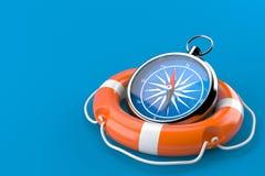 Kompass med livbojet stock illustrationer