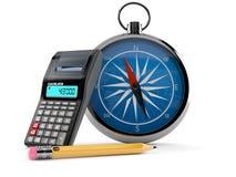 Kompass med räknemaskinen och blyertspennan stock illustrationer