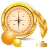 Kompass och guld- penna royaltyfri illustrationer