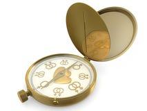 Kompass och hjärta Arkivbilder