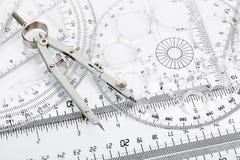 Kompass och linjaler Royaltyfria Bilder