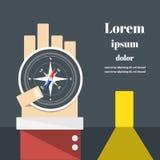 Kompass på affärsmans hand Royaltyfri Fotografi