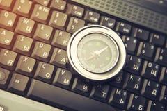 Kompass på anteckningsboken Royaltyfri Fotografi