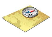 Kompass på en kartlägga Fotografering för Bildbyråer
