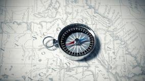 Kompass på en kartlägga royaltyfri illustrationer