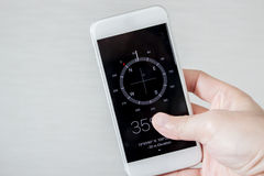 Kompass på en smart telefon Arkivfoton