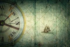 Kompass på tappningöversikt Affärsföretag berättelsebakgrund Royaltyfria Bilder