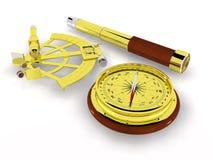 Kompass, Sextant und Teleskop stockbild