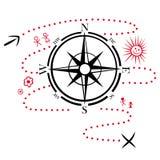 Kompass som fotvandrar stock illustrationer