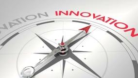 Kompass som pekar till innovation stock illustrationer