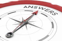Kompass som pekar till svar Fotografering för Bildbyråer