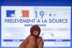 Kompass som ska vägledas i provtagningen på källan arkivbild