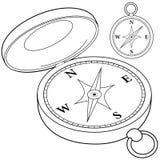 Kompass Svartvit sida för färgläggningbok royaltyfri illustrationer