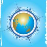 Kompass- und Kartenauslegung Stockfoto
