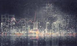 Kompassnadel, welche die Wortgewinne über schwarzem Hintergrund mit Unschärfeeffekt zeigt Lizenzfreies Stockfoto