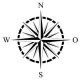 Kompassrosenvektor mit deutscher Ostbeschreibung auf einem lokalisierten weißen Hintergrund Lizenzfreie Stockfotos