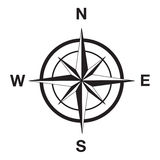 Kompassschattenbild im Schwarzen