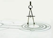 Kompassse auf der Zeichnung Stockfotografie