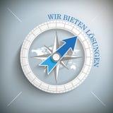 Kompasssilverbakgrund Wir bieten Loesungen Arkivfoton