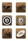 kompasssymbolsöversikt royaltyfri illustrationer