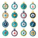 Kompasssymbolslägenhet stock illustrationer