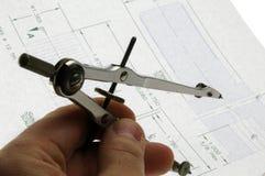 Kompassteckningshjälpmedel Fotografering för Bildbyråer