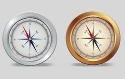 kompasu brązowy srebro Zdjęcia Royalty Free