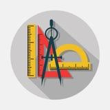 Kompasu i władc ikony z długim cieniem na szarym tle royalty ilustracja
