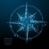 Kompasu różany niski poli- błękit royalty ilustracja