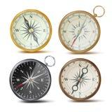 Kompasu Ustalony wektor Różni Barwioni kompasy Nawigacja przedmiota Realistyczny znak styl retro rose wiatr Odizolowywający dalej ilustracji