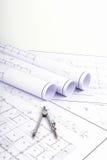 Kompasy i planu rysunek Obrazy Stock