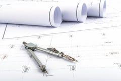 Kompasy i planu rysunek Zdjęcie Stock