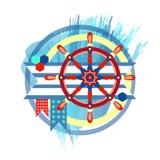 kompazitsiya med ett styrhjul vektor illustrationer