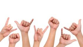 kompilaci różni ręki znaki Zdjęcia Royalty Free