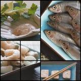 Kompilacyjny kolaż świeża żywność z tematem Fotografia Stock
