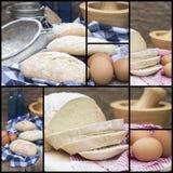 Kompilacyjny kolaż świeże chlebowego robić sceny Zdjęcia Stock