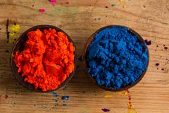 Komplementärfarben: Orange und Blau Stockbild