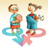 Kompletterande kvinnlig manlig flickapojkejämförelse stock illustrationer