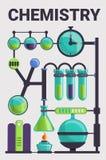 Komplex av glass begreppsbakgrund för kemi, tecknad filmstil vektor illustrationer