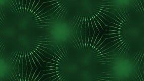 Komplex grön sammansättning av partiklar som bildar celler 3d kretsade slätad partikelanimering med en kalejdoskop stock illustrationer