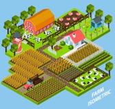 Komplex isometrisk kvartersammansättning för lantgård Royaltyfri Fotografi