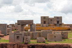 Komplex kuguar Punku, Bolivia för megalitisk sten Royaltyfria Bilder