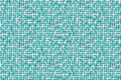 Komplex labyrint i gräsplan- och vitfärger Arkivbild