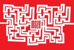 Komplex labyrint med ord på dess mitt Arkivfoto