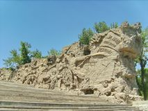 Komplex ?Mamayev Kurgan ? Wand-Ruinenfragment durchgef?hrt in Form von Hochrelief: die Zahlen von Soldaten stockfoto