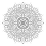 Komplex specificerad svart Mandala på vit bakgrund Arkivfoto