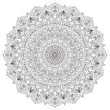 Komplex specificerad svart Mandala på vit bakgrund Royaltyfria Foton