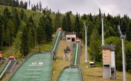 Komplex von drei Skisprüngen Szczyrk Stockfotos