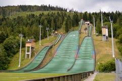 Komplex von drei Skisprüngen Szczyrk Stockfotografie