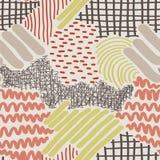 Komplexe Hand gezeichnete Streifen und Dots Vector Seamless Pattern Stockbild